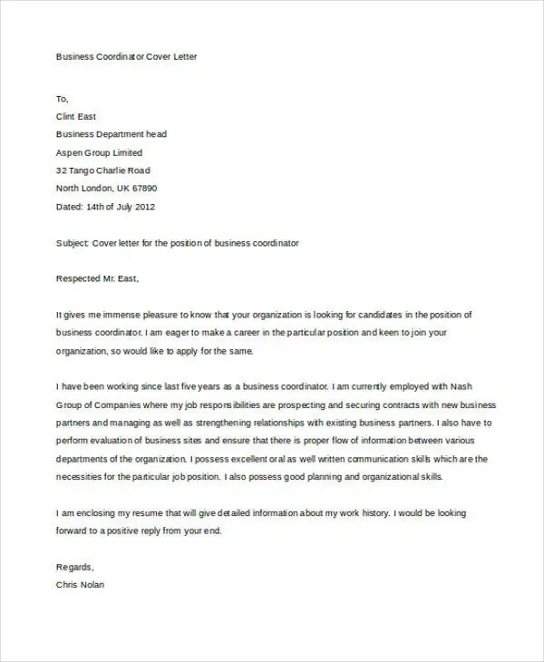 Business Cover Letter -10+ Free Word, PDF Format Download Free