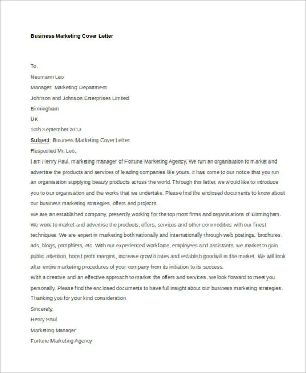 10+ Marketing Cover Letters Free \ Premium Templates - marketing cover letter