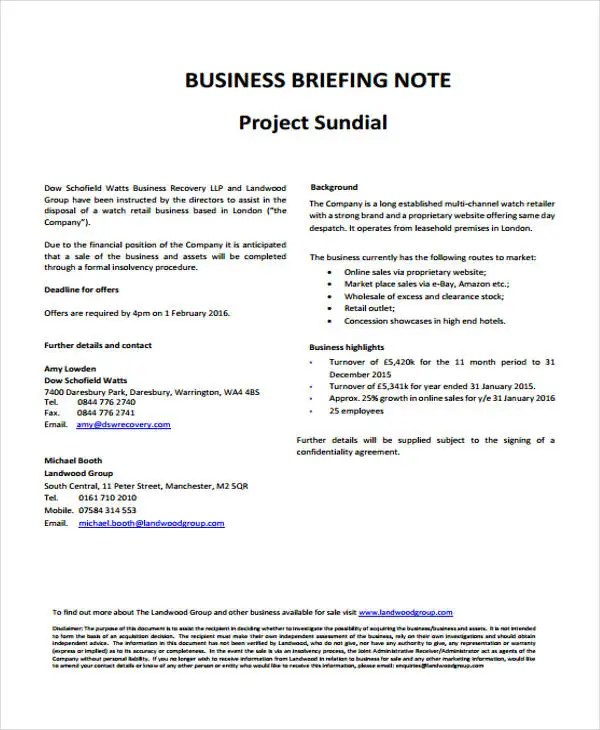 9 Briefing Note Templates - Free Sample, Example Format Download