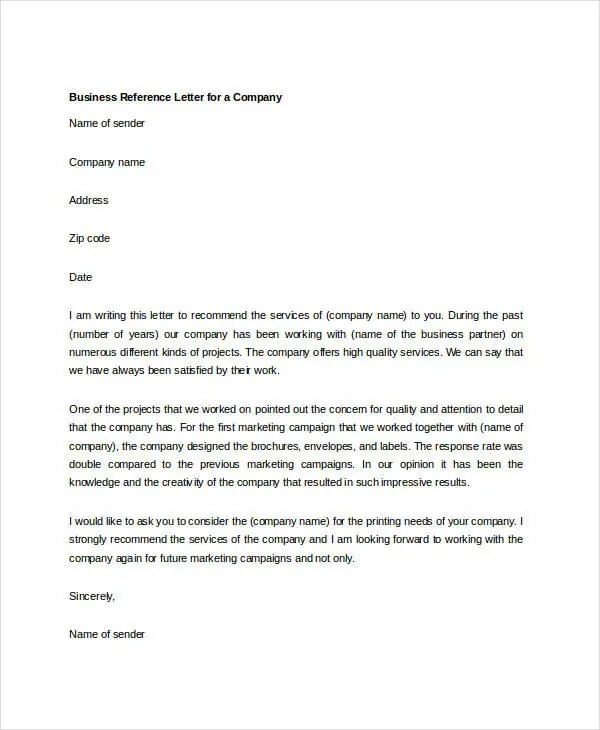 7+ Business Reference Letter Templates - Free Sample, Example - company business letter