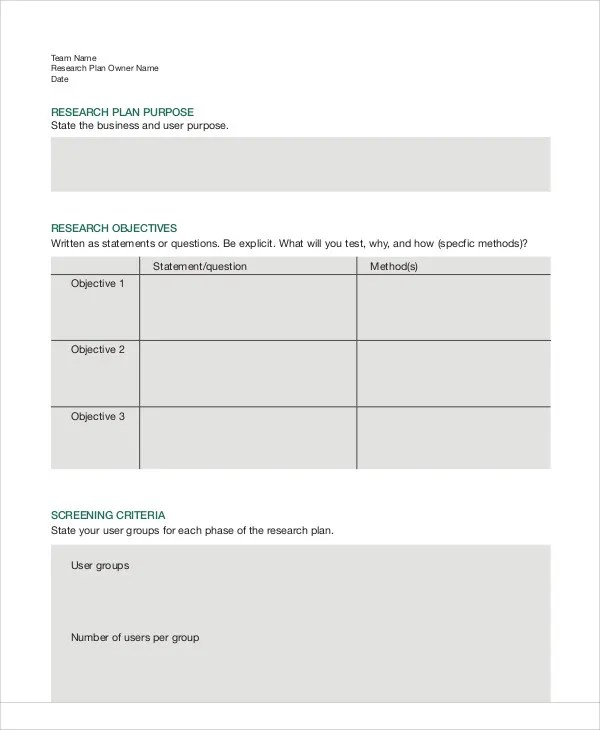 8 Research Plan Templates - Free Sample, Example Format Download