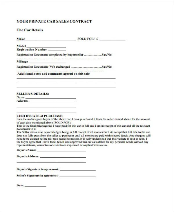 9+ Sale Contract Templates - Free Sample, Example Format Download - private owner car sale contract