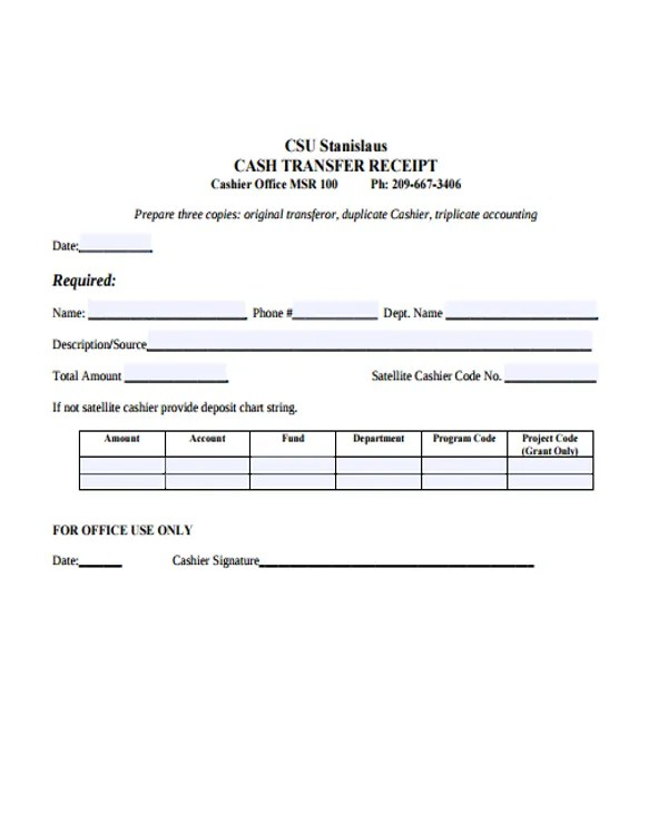 8+ Transfer Receipt Templates - Free Samples, Examples Format