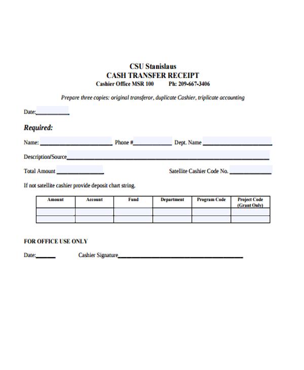 8+ Transfer Receipt Templates - Free Samples, Examples Format - money transfer receipt template