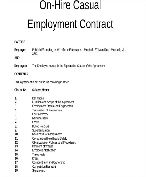 8 Employment Contract Templates - Free Sample, Example Format - Casual Employment Agreement