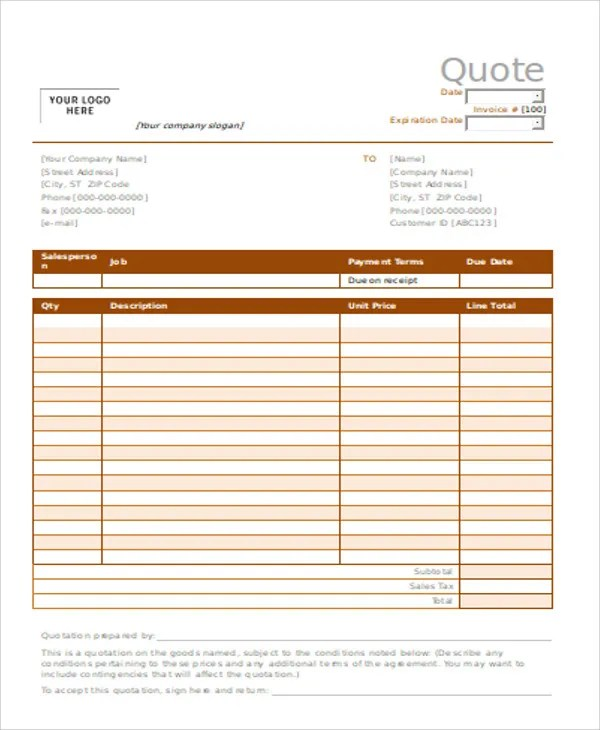 9+ Catering Quotation Templates - Word, PDF Free  Premium Templates