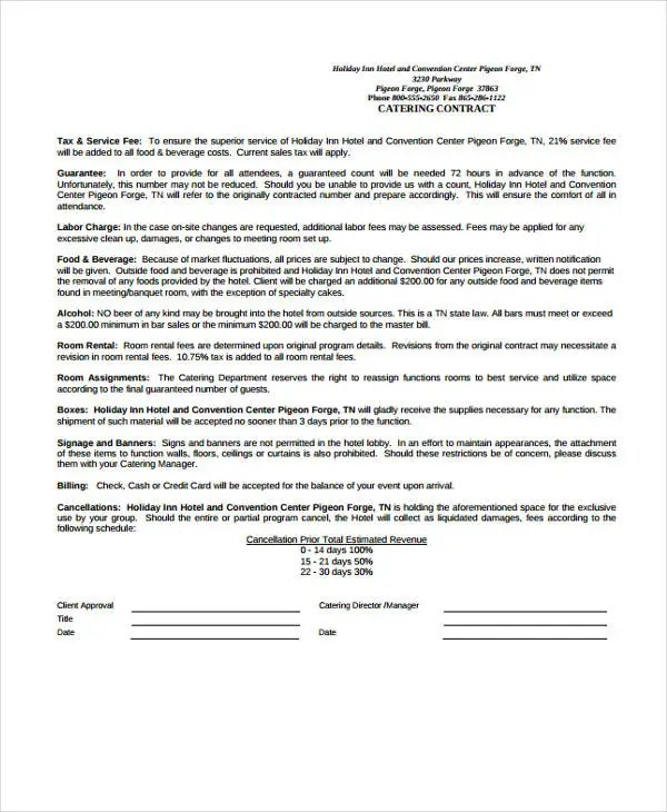 11+ Catering Contract Templates - Pages, Docs Free  Premium Templates