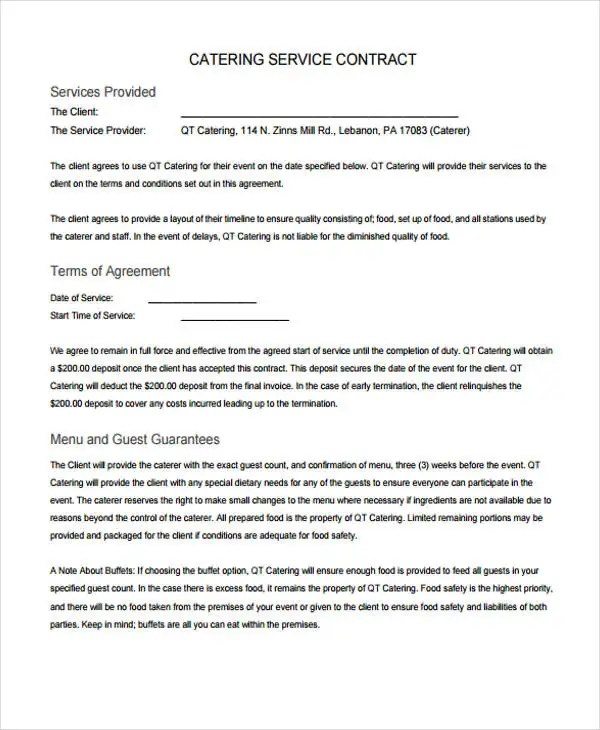 9+ Catering Contract Templates - Free Sample, Example Format - catering contract agreement