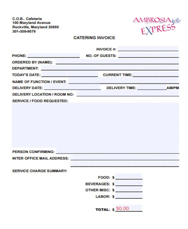 6+ Catering Receipt Templates - Free sample, Example Format - catering invoice template excel