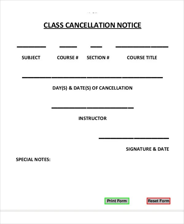 Cancellation Notice Templates - 10 Free Word, PDF Format Download