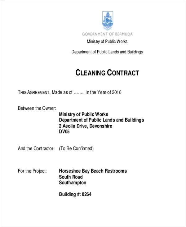 7+ Cleaning Contract Templates - Free Samples, Examples Format - sample cleaning contract template