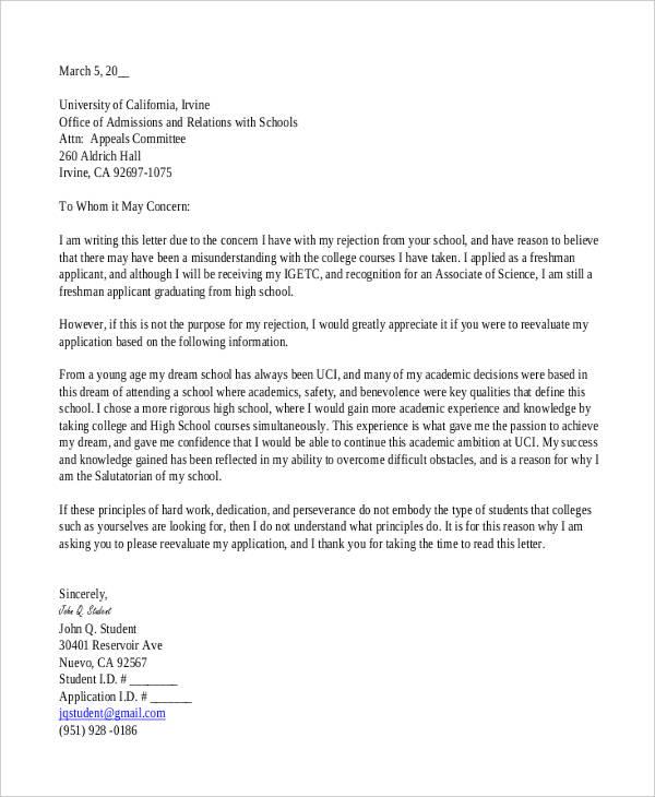5+ College Rejection Letters Free  Premium Templates
