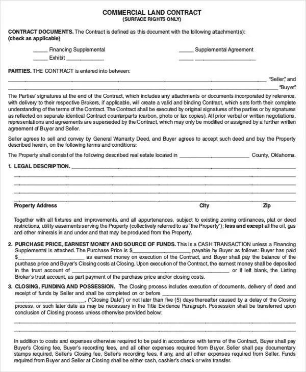 9+ Land Contract Templates - Free Sample,Example Format Download