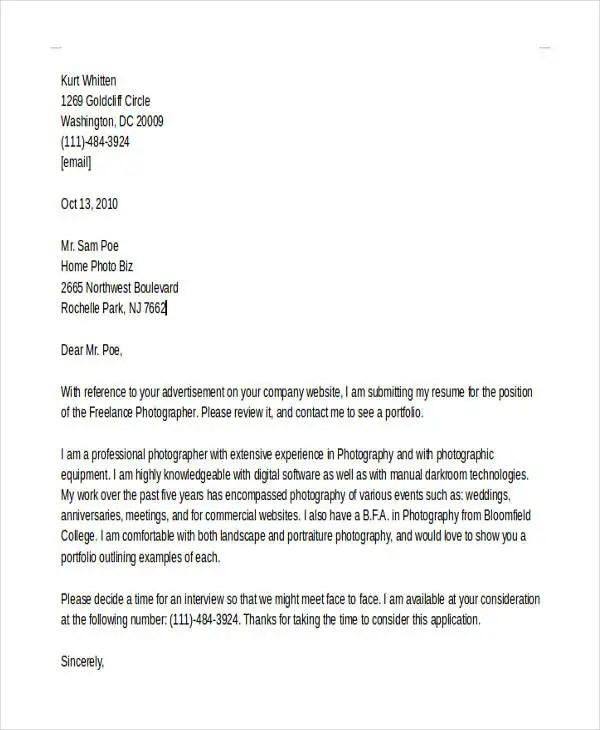 Photographer Cover Letters - 10+ Free Word, PDF Format Download