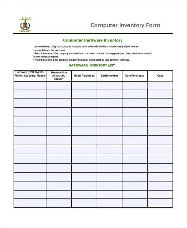 inventory list form – Inventory List Form