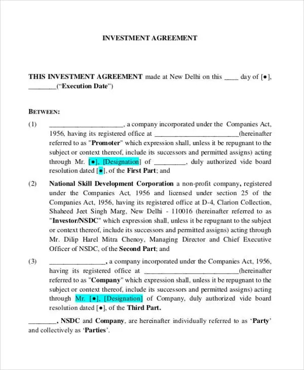 7+ Investment Contract Templates - Free Sample, Example Format - business investment contract