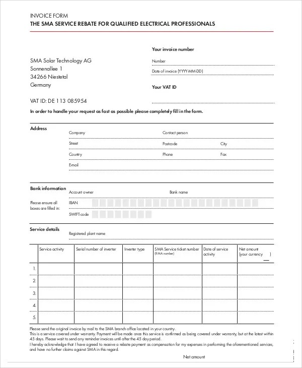 4+ Electrical Invoice Templates - Free Sample, Example Format