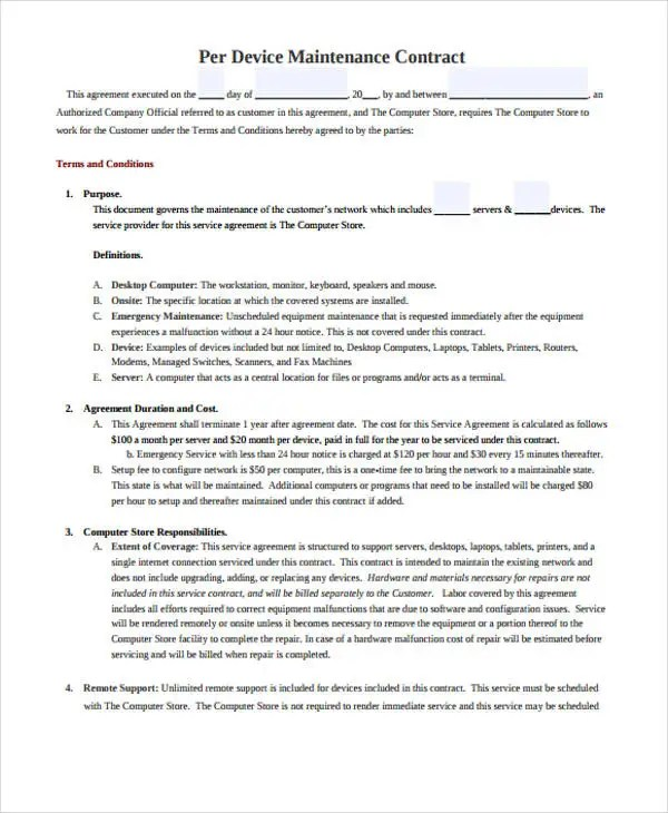 9+ Maintenance Contract Templates - Free Sample, Example Format - sample maintenance contract template