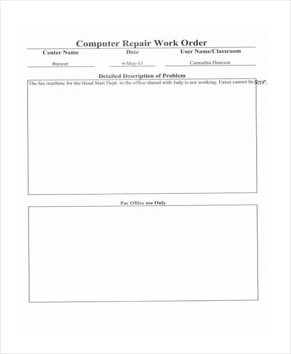 computer repair work order template - Vatozatozdevelopment