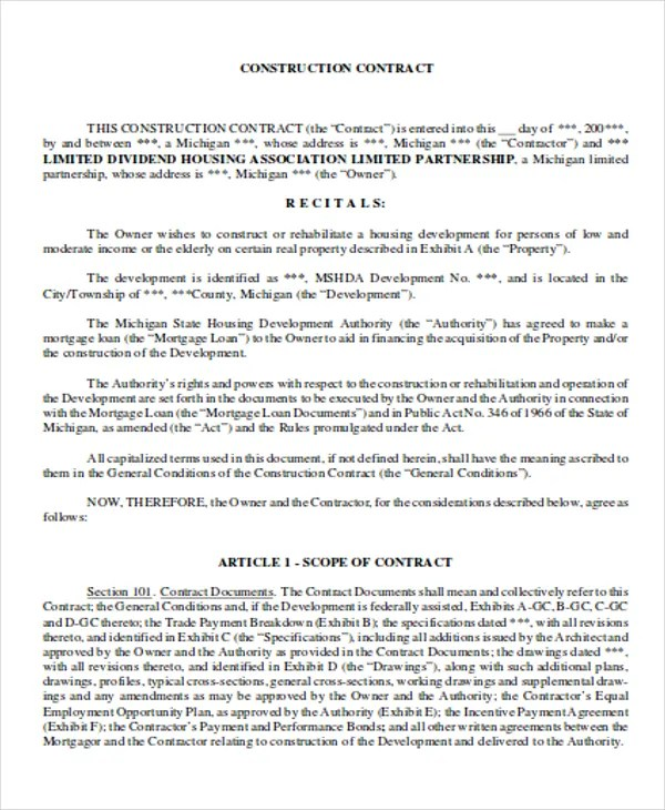 7 Development Contract Templates - Free Sample, Example Format - development contract templates