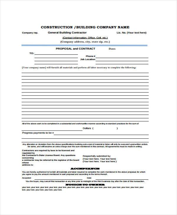 general contractor proposal template - Alannoscrapleftbehind
