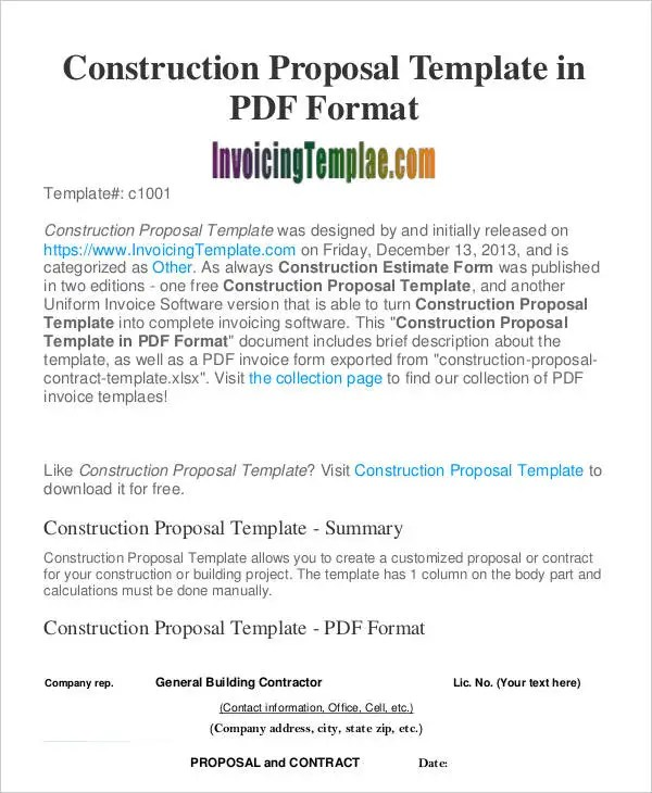 Construction Business Proposal Templates - 10+ Free Word, PDF Format
