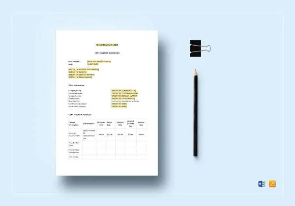 9+ Construction Quotation Templates - PDF, Google docs, Apple pages