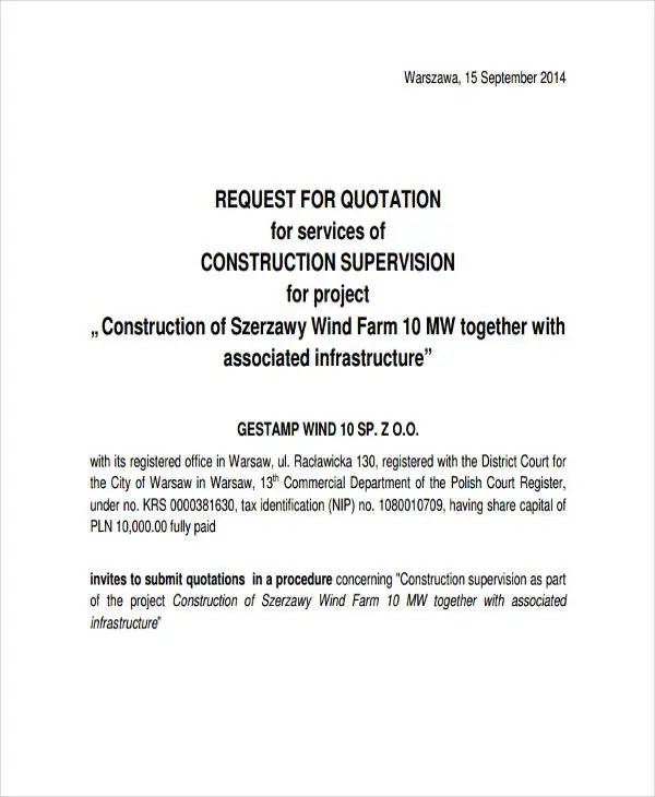 Construction Quotation Templates - 13+ Free Word, PDF Format - quotation letter sample in doc
