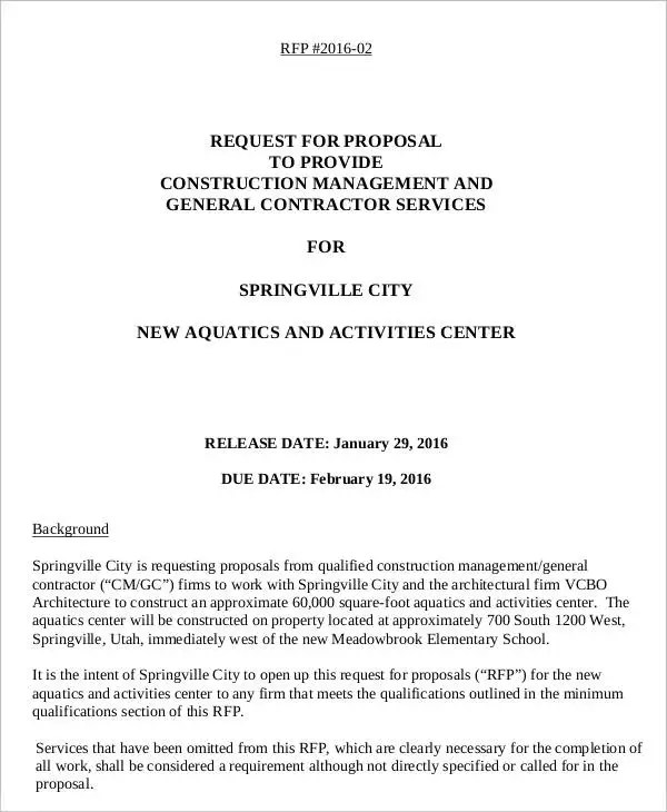 rfp proposal template - Towerssconstruction