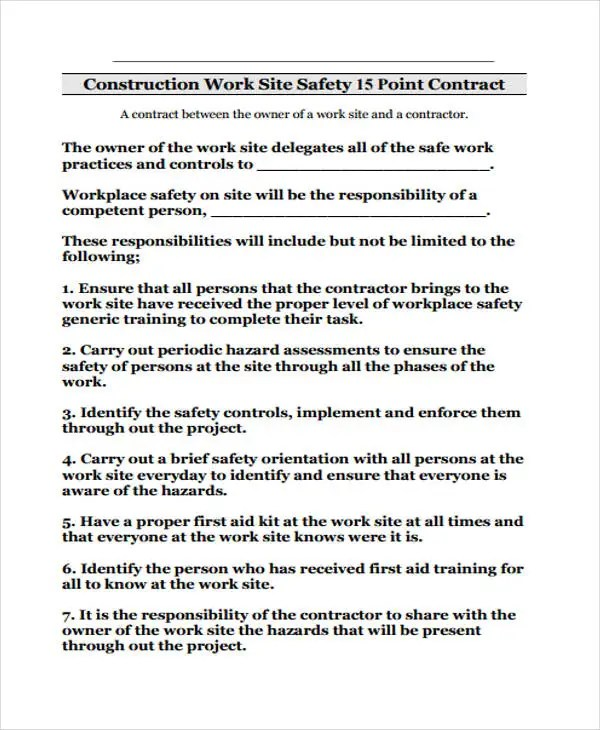 Safety Contract Template Work Plan Template Health Work Plan - free construction contracts templates