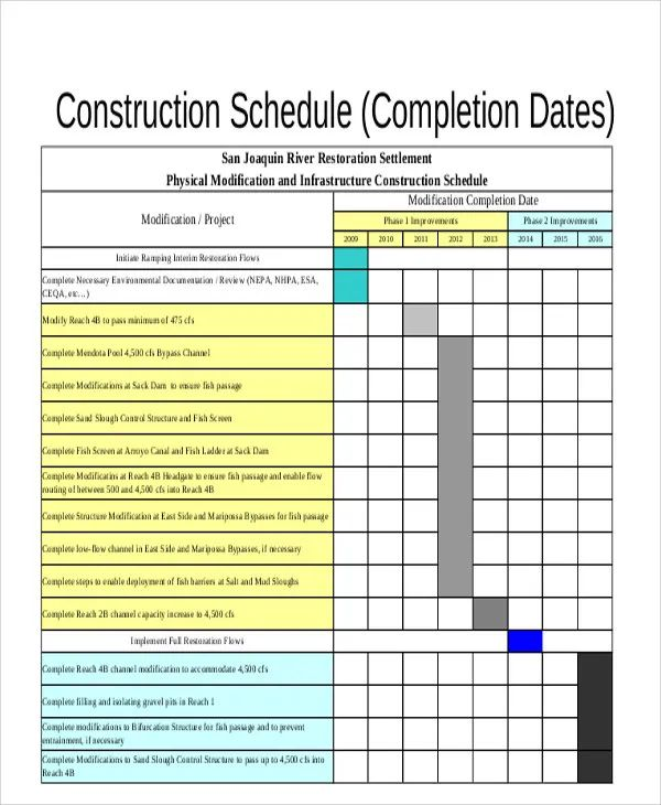 excel construction schedule template free download
