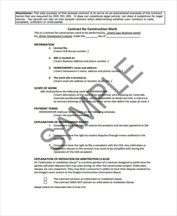 7+ Work Contract Templates - Free Sample, Example Format Download - Work Contract Template