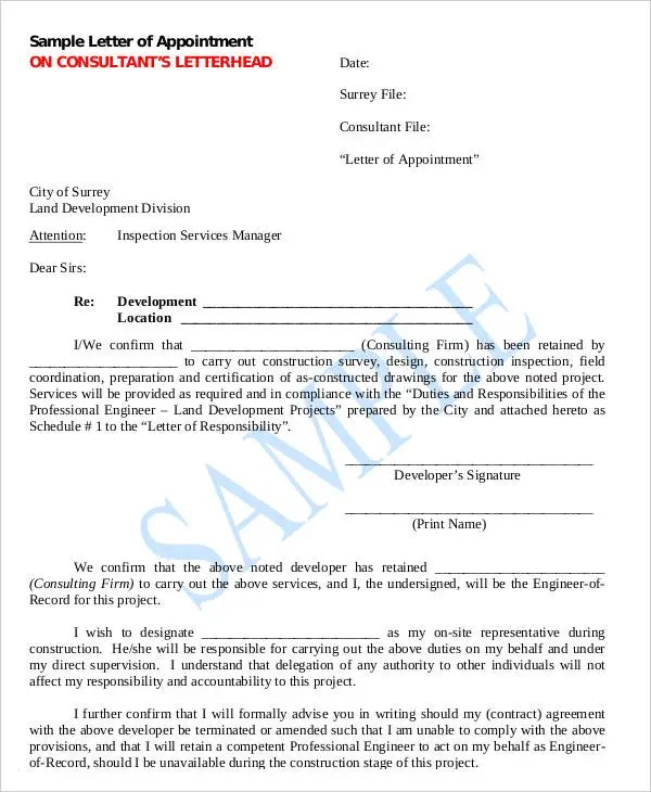 Official Appointment Letter Templates - 8+ Free Word, PDF Format - delegation letter