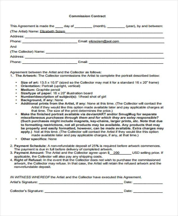 Agent Contract Template oakandale - sales agent contracts
