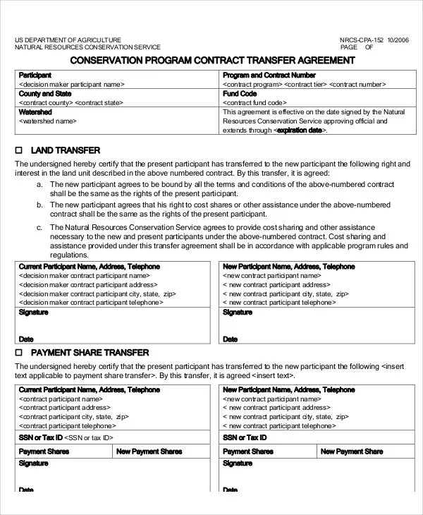 Transfer Agreement Templates - 9+ Free Word, PDF Format Download