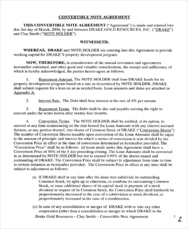 Note Agreement Template - 10 Free Word, PDF Format Download Free - convertible note agreement template