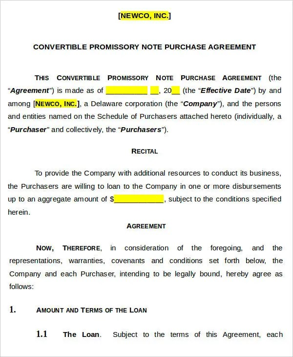 5+ Note Agreement Templates - Free Sample, Example Format Download - convertible note agreement template