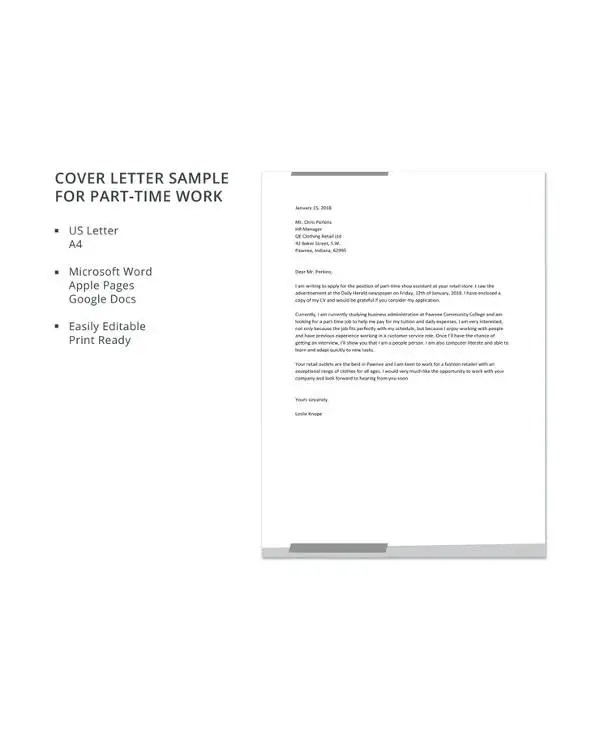 11+ Part-Time Job Cover Letter Templates - Free Sample, Example