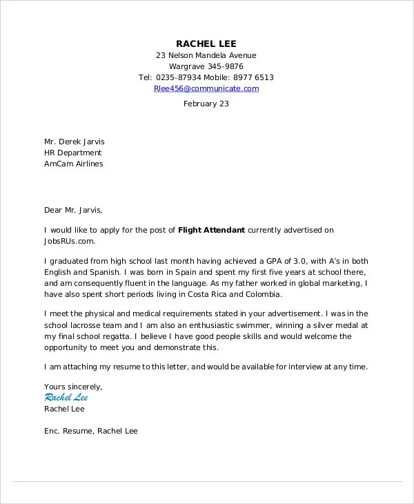 Flight Attendant Cover Letter - 9+ Free Word, PDF Format Download