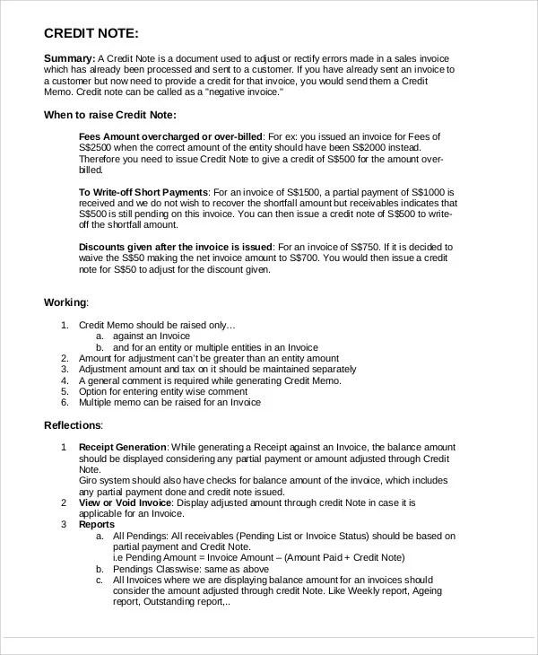 Doc#680726 Sample of Credit Note u2013 Credit Note Template 19 Free - sample credit memo