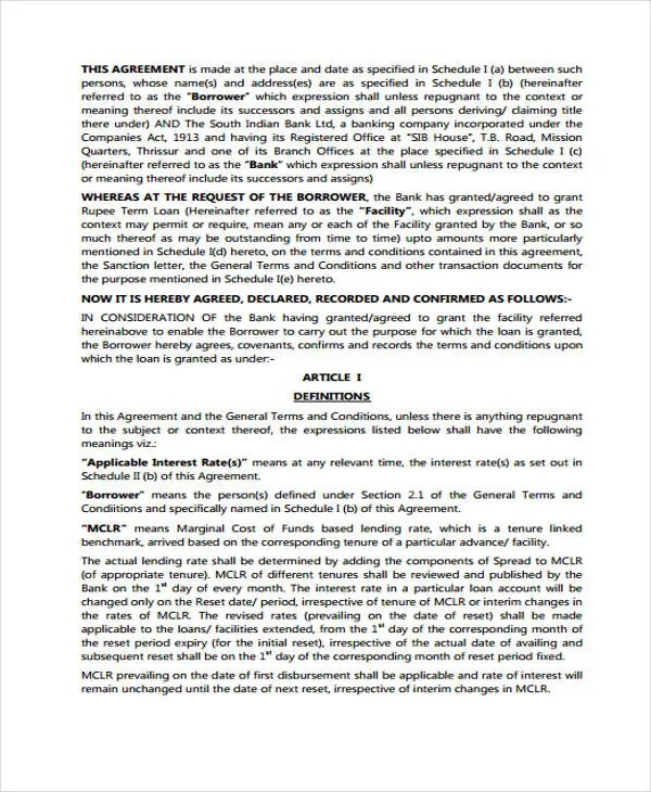Facility Agreement Templates - 8 Free Word, PDF Format Download - credit agreement