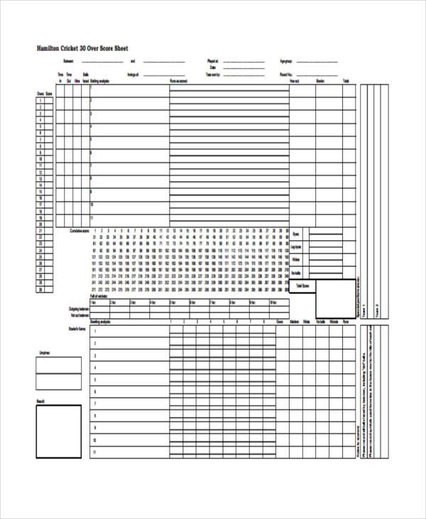 Sample Cricket Score Sheet  Cricket Score Sheet Printable