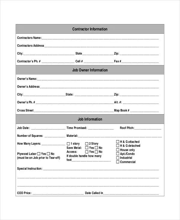 Job Sheet Template For Electrician Images - Template Design Ideas