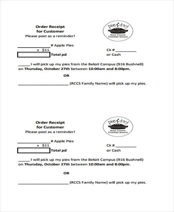 8+ Order Receipt Templates - Word, PDF Free  Premium Templates