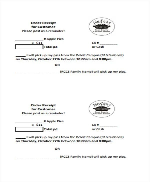 5+ Order Receipt Templates - Free Sample, Example Format Download