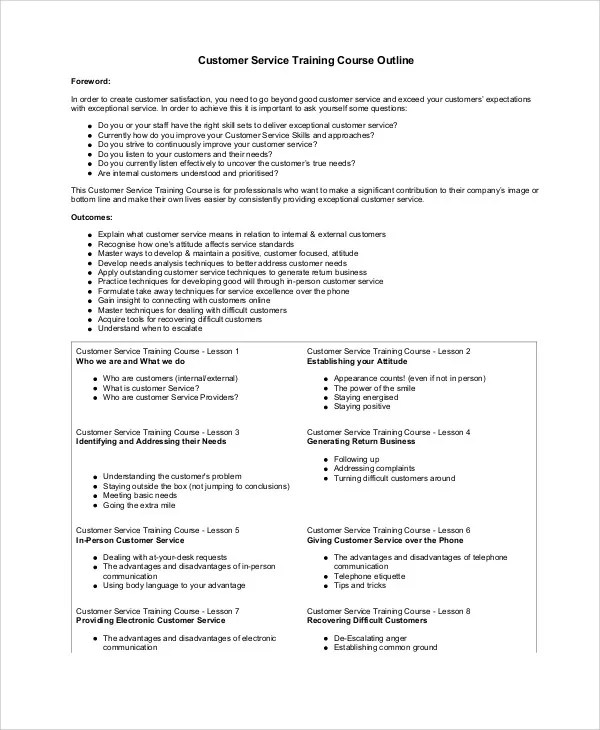Training Outline Templates - 7+ Free Word,PDF Format Download - training outline template