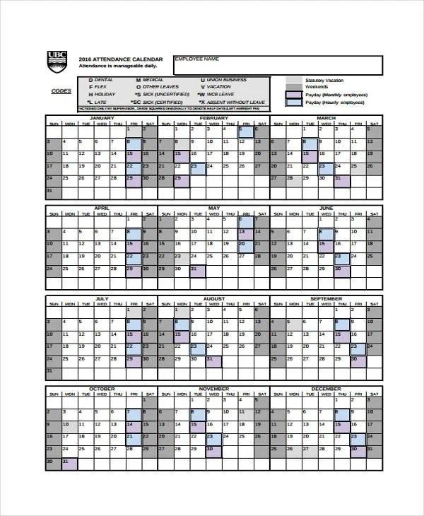 8+ Attendance Calendar Templates -Free Sample, Example Format - attendance calendar templates