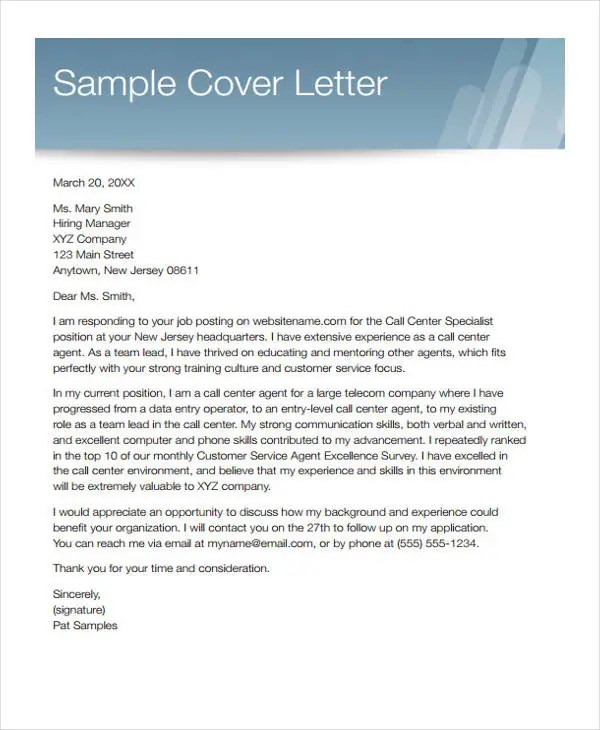 Customer Service Cover Letters -10+ Free Word, PDF Format Download