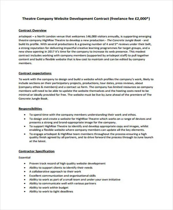 Theatre Contract Template 50 Basic Contract Templates, 12 Student - Student Contract Templates