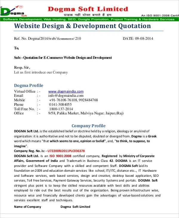 9+ Website Quotation Templates - PDF Free  Premium Templates - web design quote template